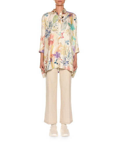 3/4-Sleeve Floral-Print Button Front Poncho Shirt and Matching Items