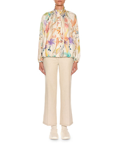 High-Neck Floral-Print Silk Bomber Jacket and Matching Items