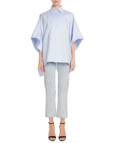 Open-Sides Oversized Cotton Cape Shirt and Matching Items