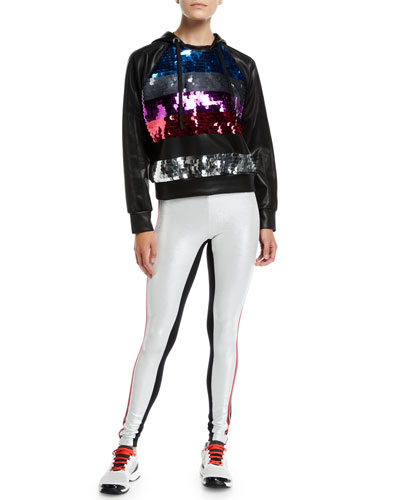 Palale Sequin Faux-Leather Cropped Hoodie and Matching Items