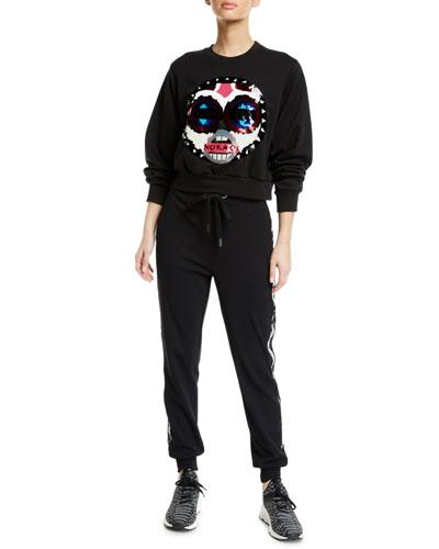Makini Sequin Logo Cropped Sweatshirt and Matching Items