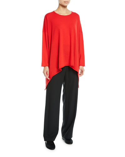 Cashmere Bateau-Neck Cascading-Side Sweater and Matching Items