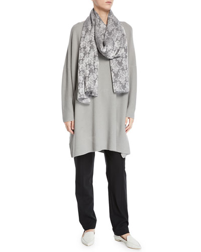 Lightweight Rose-Jacquard Scarf and Matching Items