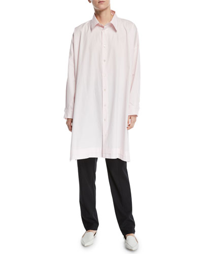 Wide A-Line Pleated-Edge Poplin Shirt and Matching Items