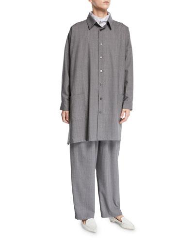 Tasmanian Mini-Plaid Wool A-Line Shirt Jacket and Matching Items