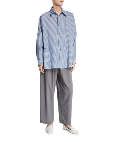 Wide-Striped Paneled Button-Front Shirt and Matching Items