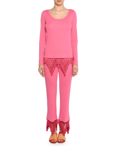 Straight-Leg Tassel Cuff Pants and Matching Items
