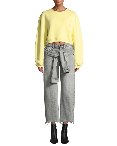 Stack Tie-Front Wide-Leg Cropped Jeans