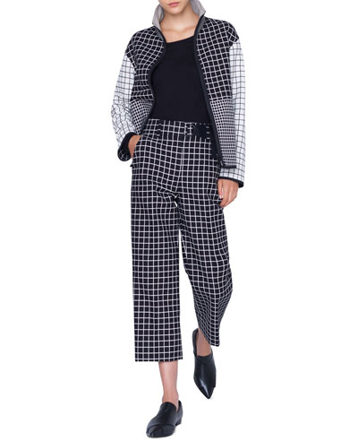 Mixed-Grid Stand-Collar Zip-Front Jacket and Matching Items