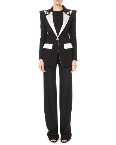 Colorblocked Satin-Lapel Long Blazer Jacket and Matching Items