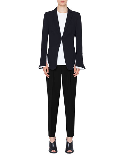 Hook-Front Wool Tricot Blazer Jacket and Matching Items