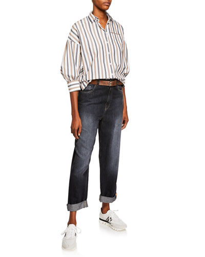 Dark Faded Denim Boyfriend Jeans with Grosgrain Detail and Matching Items