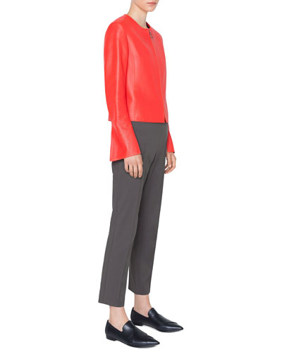 Round-Neck Zip-Front Perforated Napa Leather Jacket and Matching Items