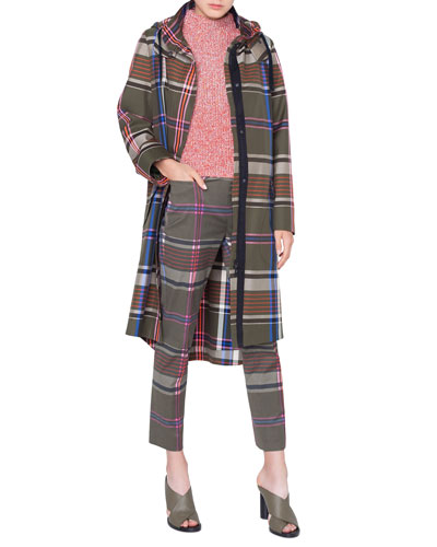 Long Plaid Cotton Parka Coat and Matching Items