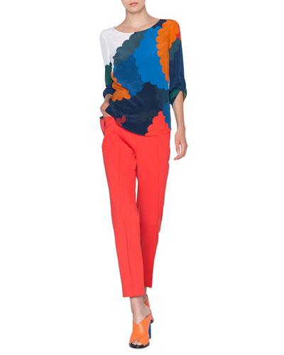 Bracelet-Sleeve Memphis-Nuvola Print Silk Blouse and Matching Items