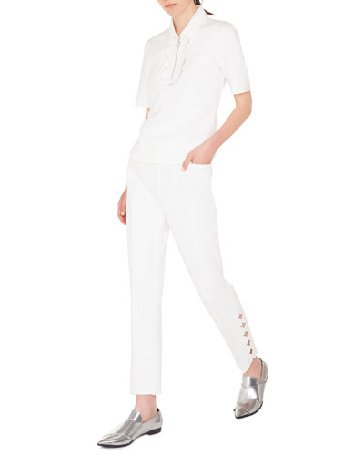 Memphis-Scalloped Collared 1/2-Sleeve Polo and Matching Items