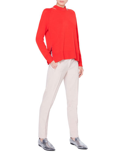 Wool-Cashmere Collarbone Cutout Sweater and Matching Items