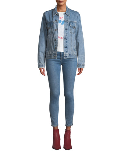 Perfect Oversized Frayed Trucker Denim Jacket and Matching Items