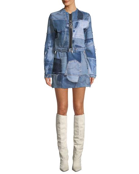 Patchwork Frayed Denim Mini Skirt