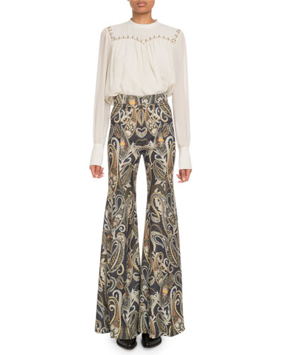 Embroidered Long-Sleeve Silk Top and Matching Items