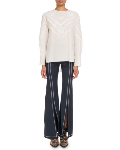Long-Sleeve Embroidered Crepe de Chine Blouse and Matching Items