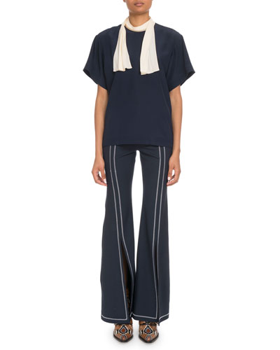 Short-Sleeve Contrast Scarf-Tie Blouse and Matching Items