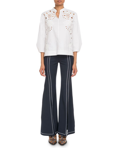 3/4-Sleeve Eyelet Embroidered Blouse and Matching Items