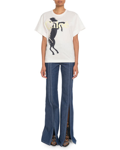 Short-Sleeve Horse-Logo Graphic T-Shirt and Matching Items