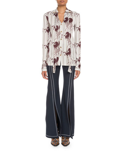 Long-Sleeve Button-Front Horse-Print Viscose Jersey Blouse and Matching Items
