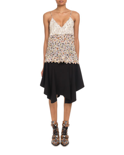 V-Neck Lace-Bodice Cami-Strap Floral-Print Viscose Top and Matching Items