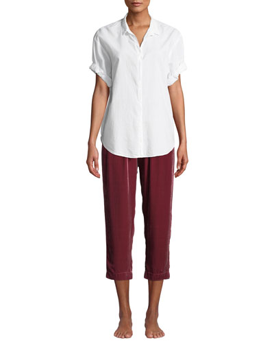 Channing Short-Sleeve Cotton Lounge Shirt and Matching Items