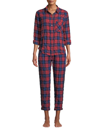 Ashton Plaid Button-Front Lounge Top and Matching Items