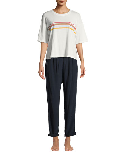 Jess Striped Short-Sleeve Boxy Lounge Top and Matching Items