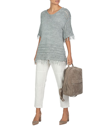 Fringed-Trim Short-Sleeve Sweater and Matching Items