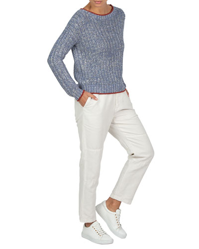 Contrast-Trim Metallic-Knit Sweater and Matching Items