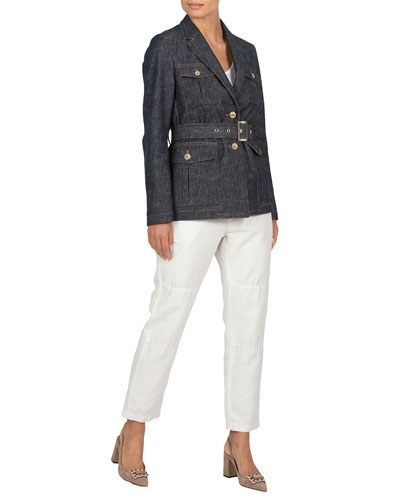 Denim Jacquard Belted Jacket and Matching Items