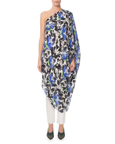 Asymmetric One-Shoulder Abstract Floral Tunic Dress and Matching Items