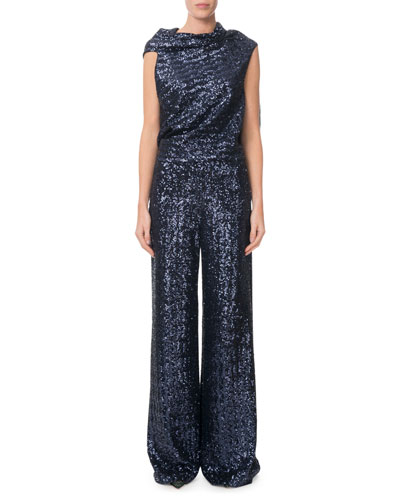 Sequined Draped Tie-Back Top and Matching Items