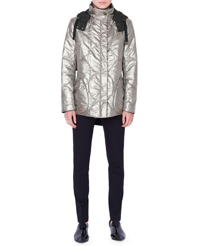 Metallic Circle-Quilted Puffer Coat and Matching Items