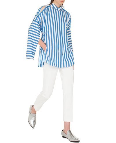 Striped Kent-Collar Button-Shoulder Long-Sleeve Cotton Blouse and Matching Items