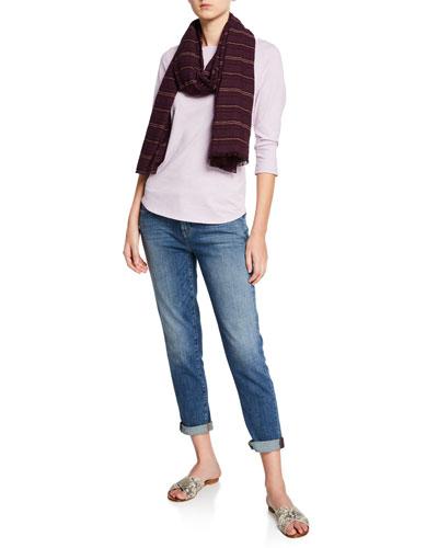 Bateau-Neck 3/4-Sleeve Slub Jersey Tee and Matching Items