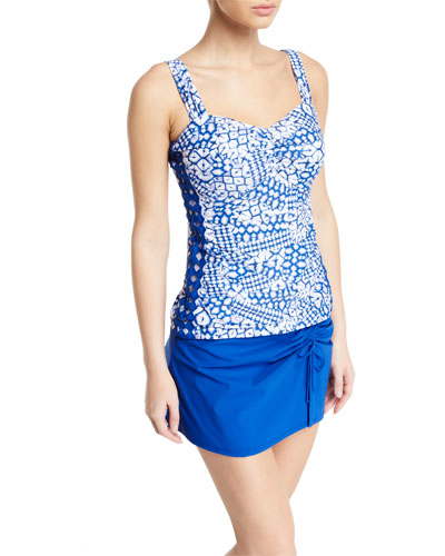 Diamond Batik D-Cup Ruched Tankini Swim Top and Matching Items