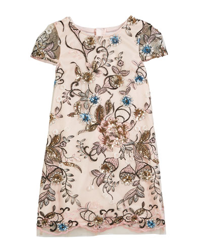 Chloe Floral Sequin Embroidered Dress, Size 4-7  and Matching Items