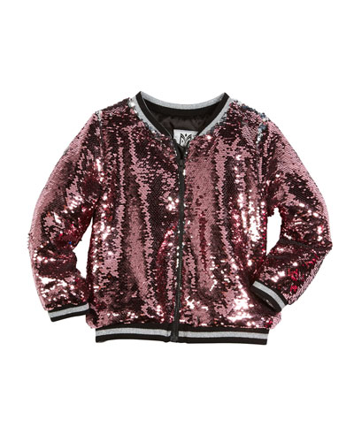 Moveable Sequin Bomber Jacket, Size 4-7  and Matching Items
