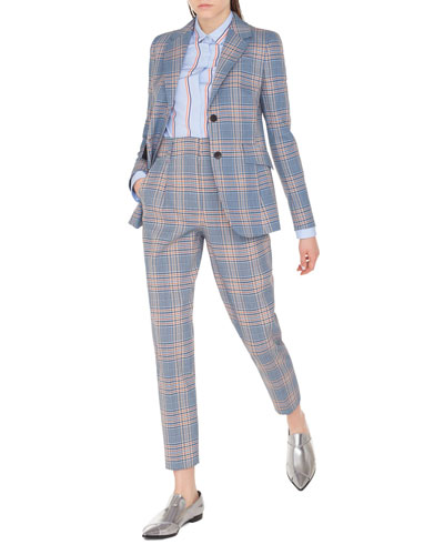 Plaid Two-Button Blazer Jacket and Matching Items