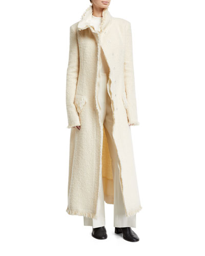 Patona Long Fringe-Trimmed Tweed Coat and Matching Items