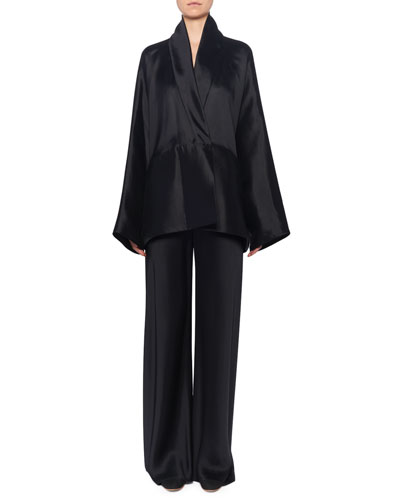 Pernia Wrapped Silk Jacket,  Black and Matching Items