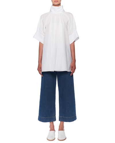 Abel Stand-Collar Short-Sleeve Poplin Blouse and Matching Items
