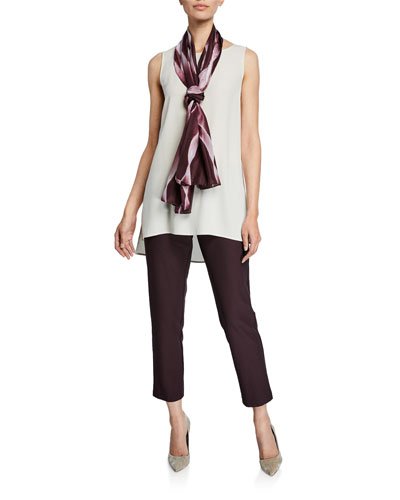 Bateau-Neck Silk Georgette Crepe Shell and Matching Items