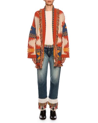 Fringe-Beads Straight-Leg Boyfriend Jeans  and Matching Items
